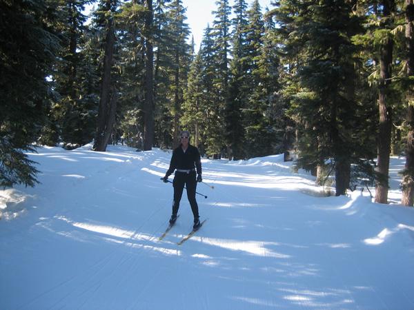 Linda skiing Leslie's Lunge at Mount Bachelor Nordic