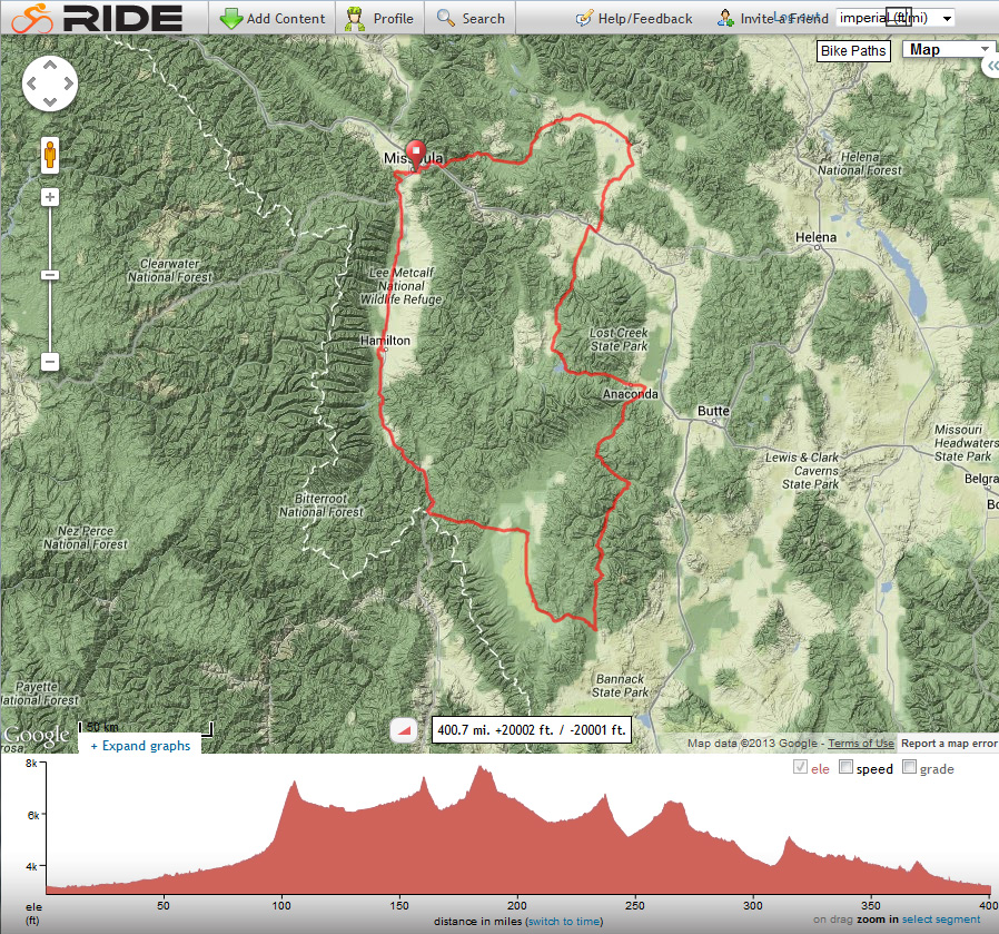 Montana Bicycle Ride 2013 Route