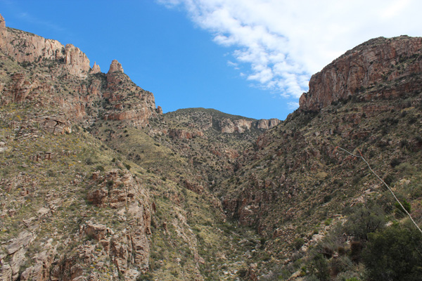 Finger Rock on the upper left and Mount Kimball ahead from Finger Rock Canyon