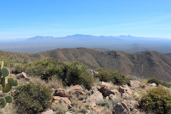 Looking SE from Mount Devine towards Coyote Mountain, Kitt Peak, and Baboquivari Peak