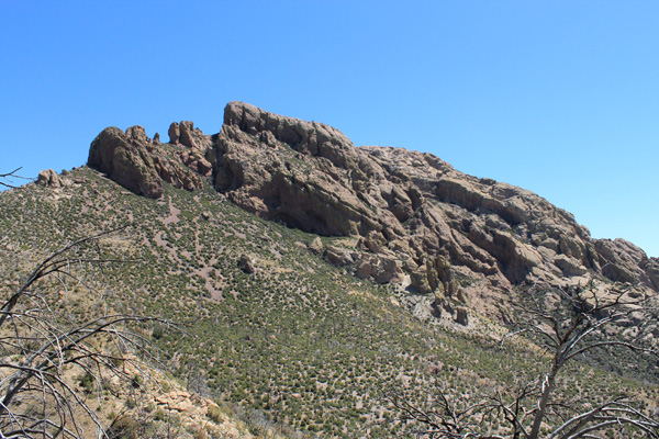 The steep southwest ridge leads to the chin
