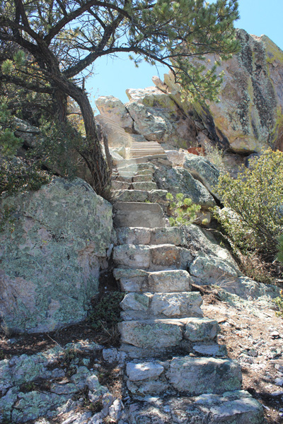 Steps lead up to the foundation of the former Silver Peak lookout