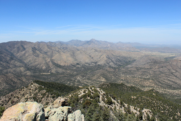 Looking northwest from Silver Peak towards Cochise Head and the northern Chiricahua Mountains