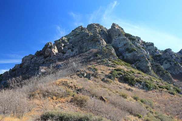 Looking up at the summit of Browns Peak. The route climbs the steep gully to the right of center.