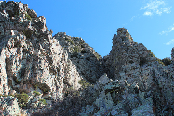 Approaching the steep gully leading to the summit of Browns Peak