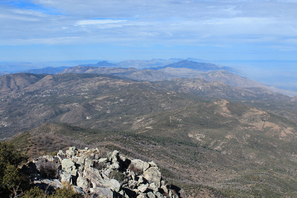Looking north from Browns Peak along the crest of the Mazatzal Mountains