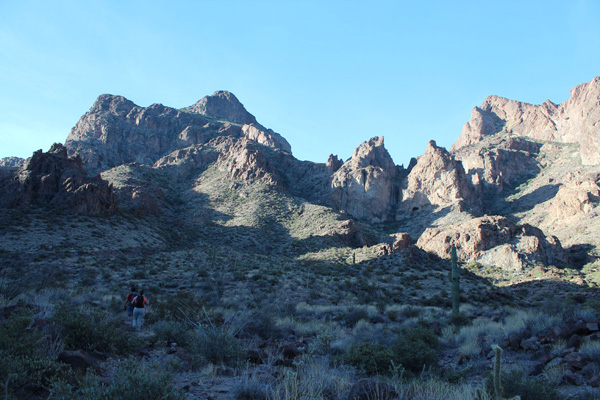 Our route climbs just left of center from Ten Ewe Canyon