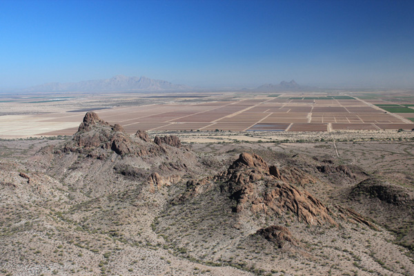 Newman and Picacho Peaks to the east from the summit of Peak 2630