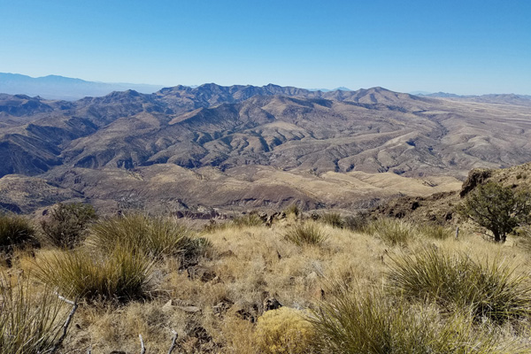 Looking west towards the Gila Range of Graham County and its highest point, Bryce Mountain
