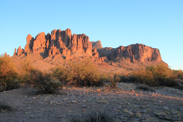 Evening view of Superstition Mountain from Lost Dutchman State Park