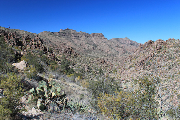 My first view of Superstition Benchmark on the left from the Superstition Ridgeline Trail
