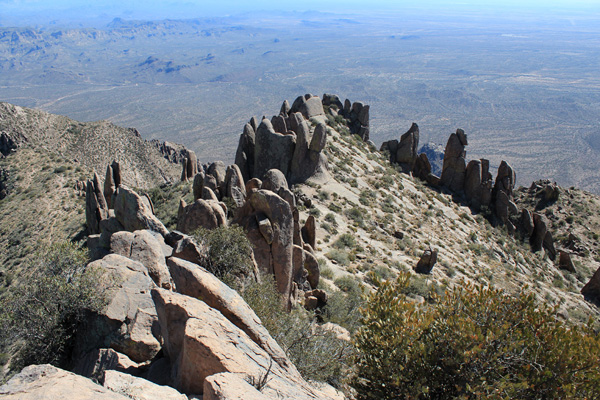 Looking down on the hoodoos from Superstition Benchmark