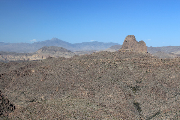 Four Peaks on the left and Weaver's Needle on the right from my descent of the Superstition Ridgeline Trail.