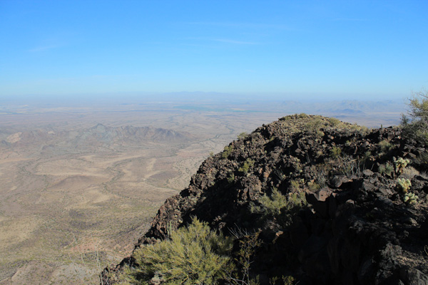 Looking east from the Woolsey Peak summit towards the White Tank Mountains in the distance
