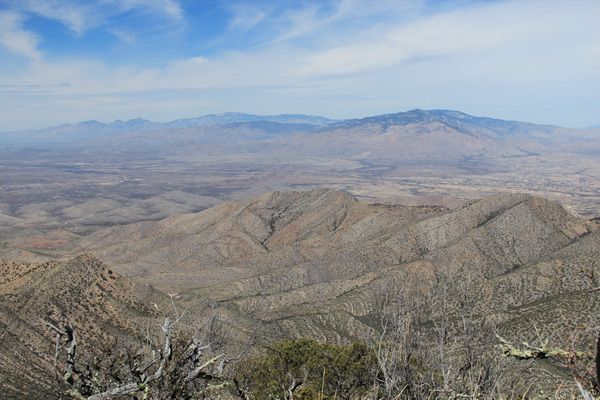 NW towards the Santa Catalina and Rincon Mountains from Apache Peak