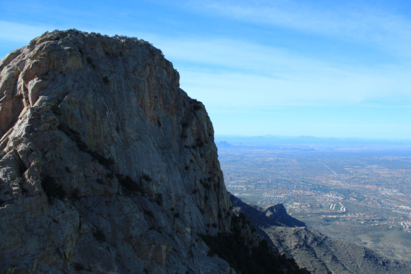 Table Mountain rises above us on the left and Oro Valley lies below.