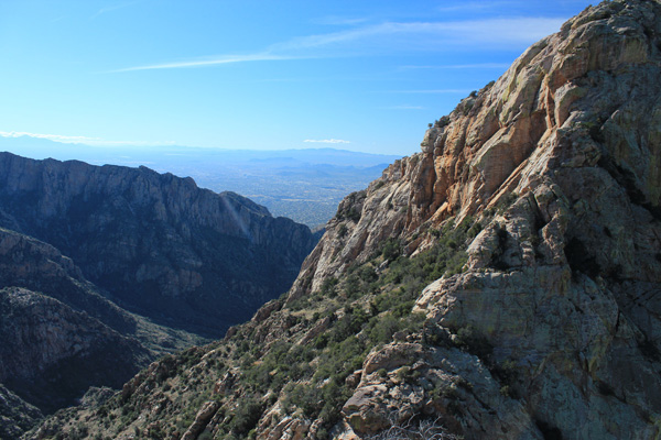 Looking down Pima Canyon towards Tucson from the summit of Table Tooth.