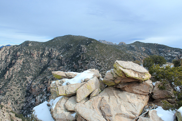 Mount Kimball on the left and Cathedral Rock in the distant center from Prominent Point