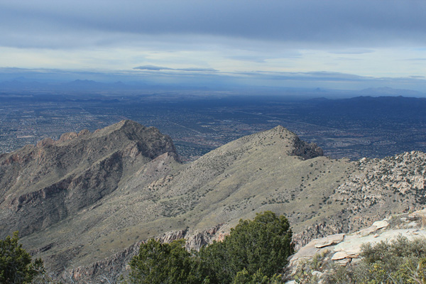 West from the Prominent Point summit. Pusch Ridge is left of center beyond Pima Canyon.