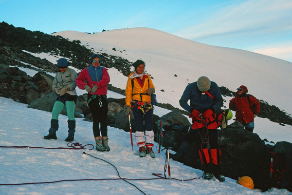 At sunrise we rope up to climb the Whitewater Glacier. Linda is in the center