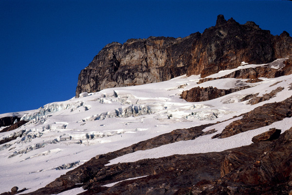 "The glacier below the East Face of Sloan Peak. This is part of the ""Corkscrew Route"" up the peak"