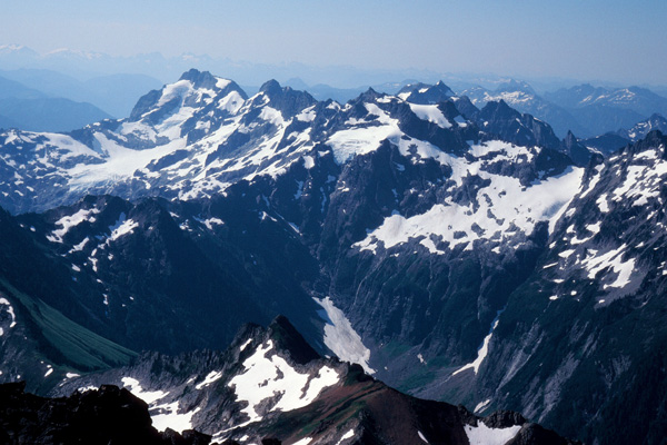 The Monte Cristo peaks from the summit of Sloan Peak