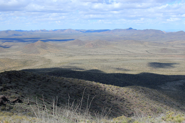 Looking down from the upper slopes of Cimarron Peak