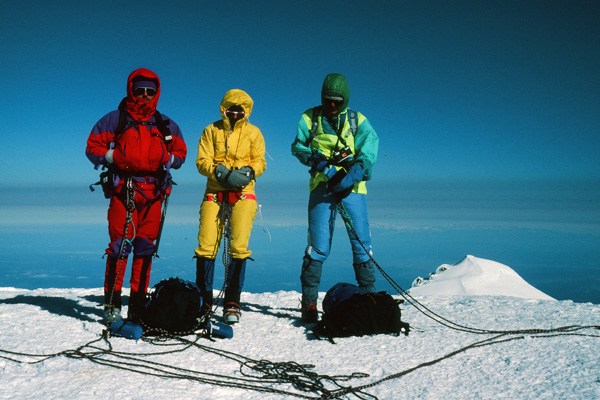 Ray, Linda, and Roy on the summit of Mount Rainier