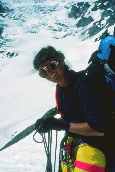 Linda unropes after crossing the Nisqually Glacier