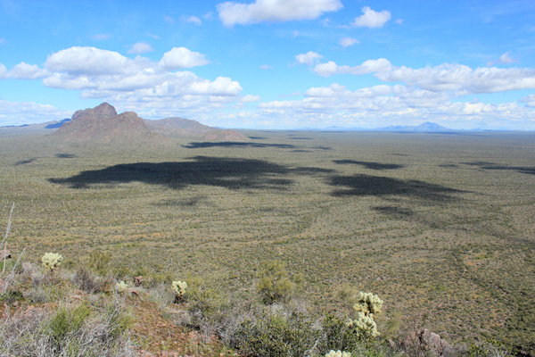 North across the desert floor from high on the trail