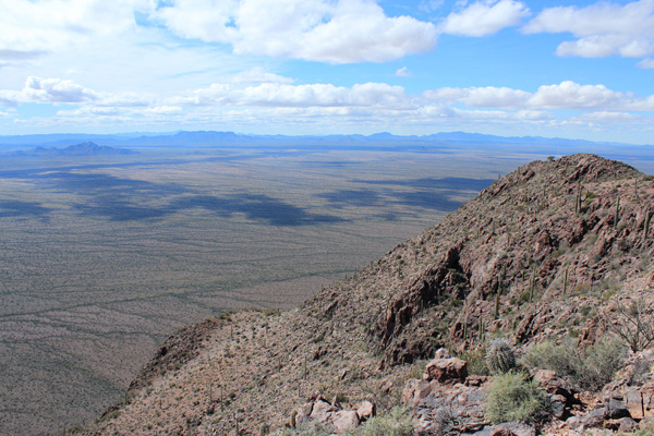 Southwest towards the Mesquite Mountains on the left and the distant Ajo Range