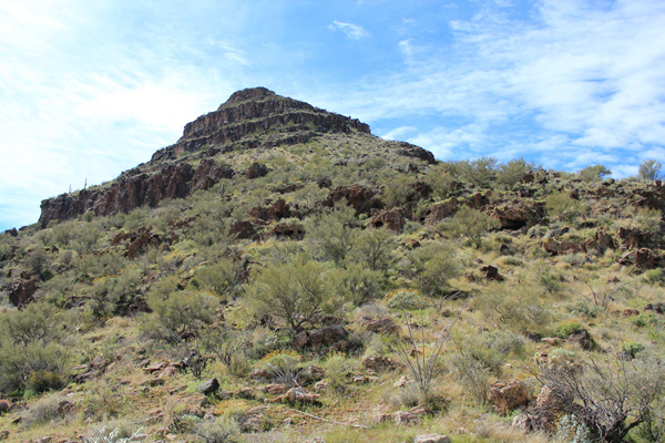 The northeast ridge had good footing and led to passages through short cliff bands