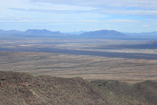 Ben Nevis Mountain on the left and South Mountain on the right from the Mesquite Mountains highpoint