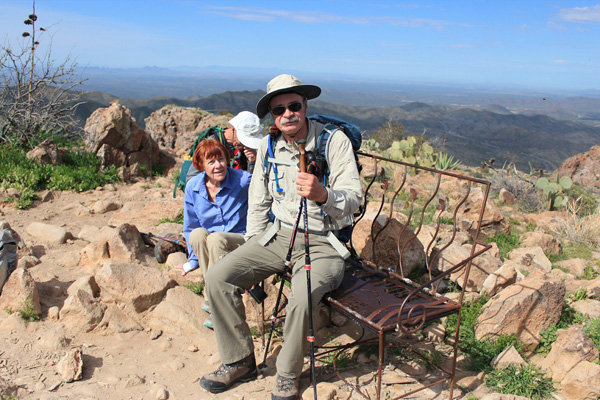 John Ohm on the summit of Picketpost Mountain, his 300th Southern Arizona Hiking Club Peak