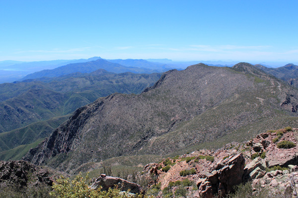 South along the spine of the Mazatzal Mountains towards Four Peaks and Superstition Ridge in the distance