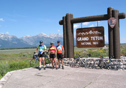 Doug, Linda, Paul entering Grand Teton NP
