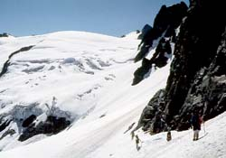Traversing onto the LeConte Glacier