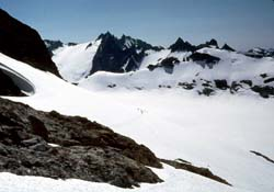 Traversing above South Cascade Glacier