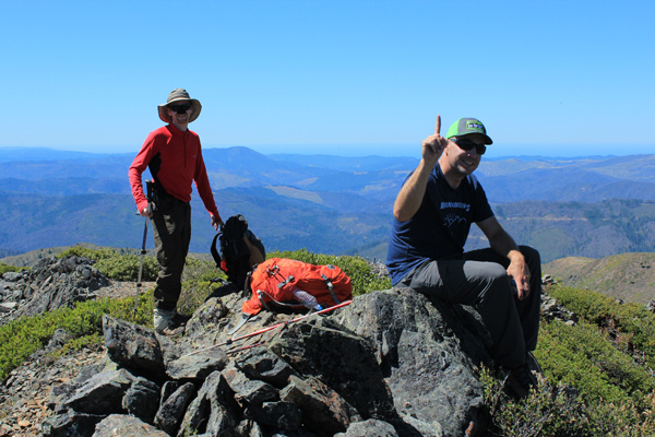 Michael Wanberg and Caleb Morris on the summit of Big Craggies