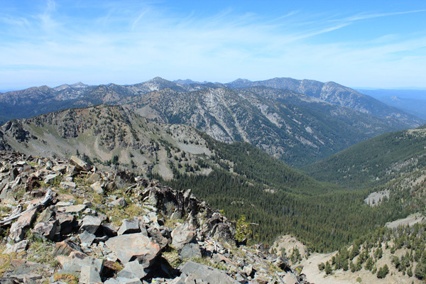 The northern Elkhorn Mountains from Cougar Pond SE Peak summit