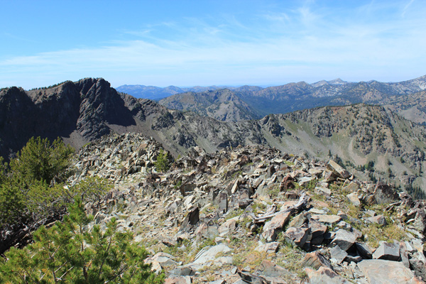 Looking west from the summit across the Elkhorn Mountains from Cougar Pond SE Peak summit