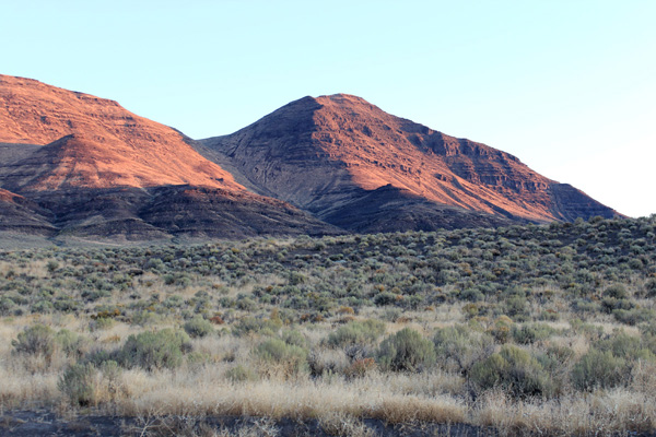 Mickey Butte at sunrise. We climbed the south gully below and to the left.