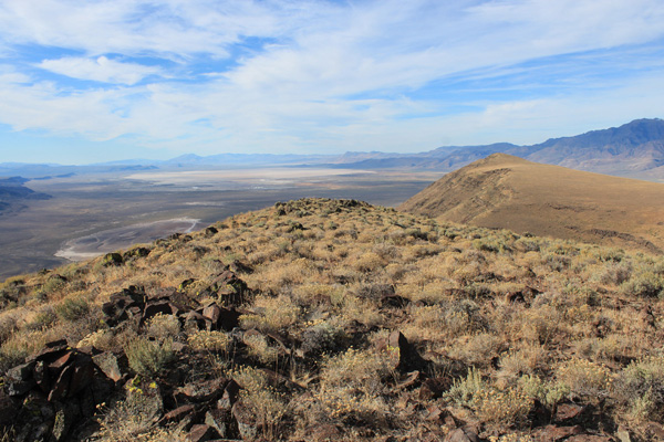 Looking across the Alvord Desert towards the Pueblo Mountains from the Mickey Butte summit.