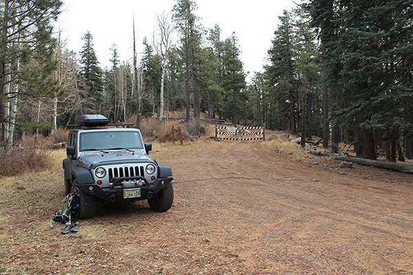 My Jeep parked at the locked gate below the Hutch Mountain Lookout