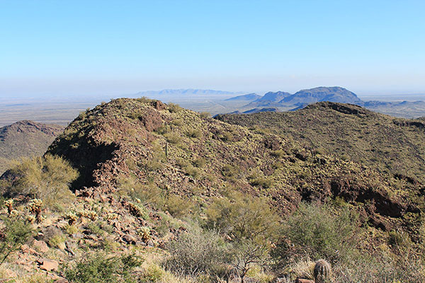 Jack Benchmark from the highpoint with the Silver Reef Mountains on the right and the Casa Grande Mountains in the distant center.
