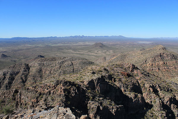 The San Tank Mountains to the northwest, with Maricopa Peak on the right