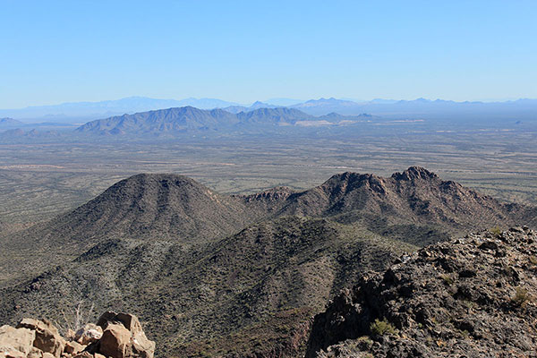 The Slate Mountains and Prieta Peak to the southeast, with Ragged Top, the Silver Bell Mountains, and Waterman Peak beyond