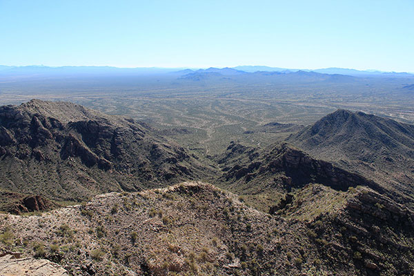 Looking down our route towards the Sheridan, Cimarron, Quijotoa, and Sierra Blanca Mountains