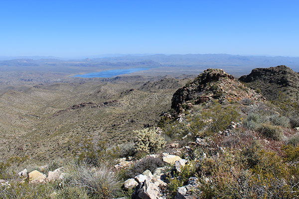 Alamo Lake to the north from the Buckskin Benchmark summit