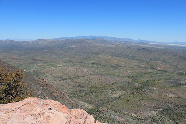 The Pedregosa and Chiricahua Mountains beyond from the South College Peak summit